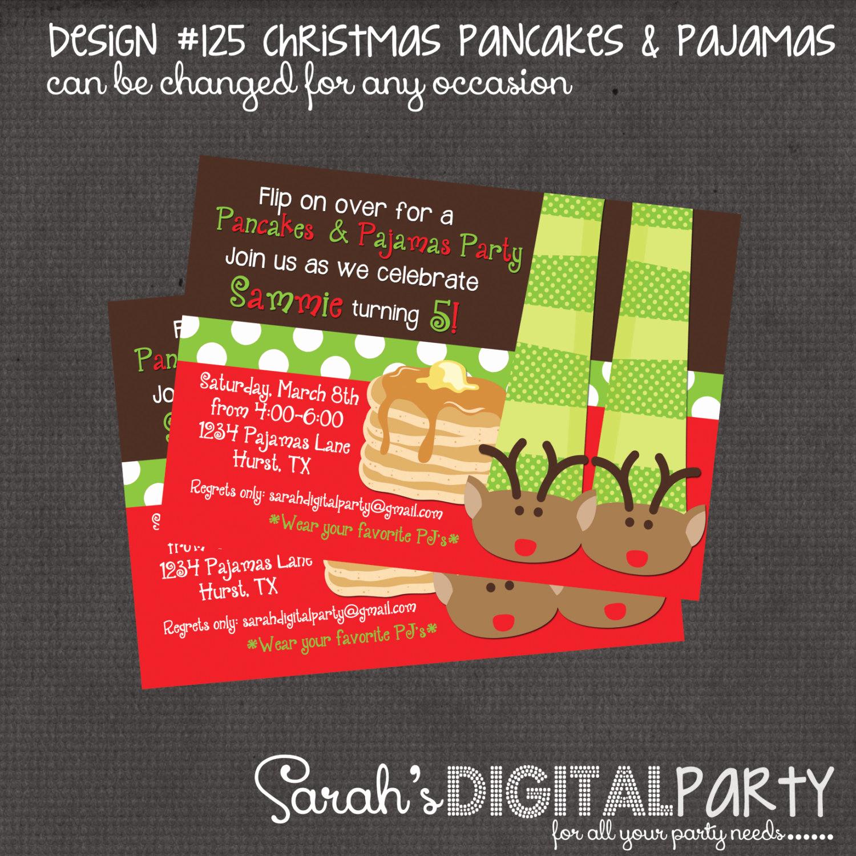 Pancakes and Pajamas Invitation Best Of Christmas Pancakes and Pajama Party Invitation 4x6 or 5x7