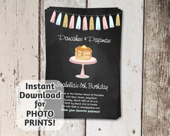 Pancakes and Pajamas Invitation Best Of Pancakes & Pajamas Invitation Birthday Party Instant