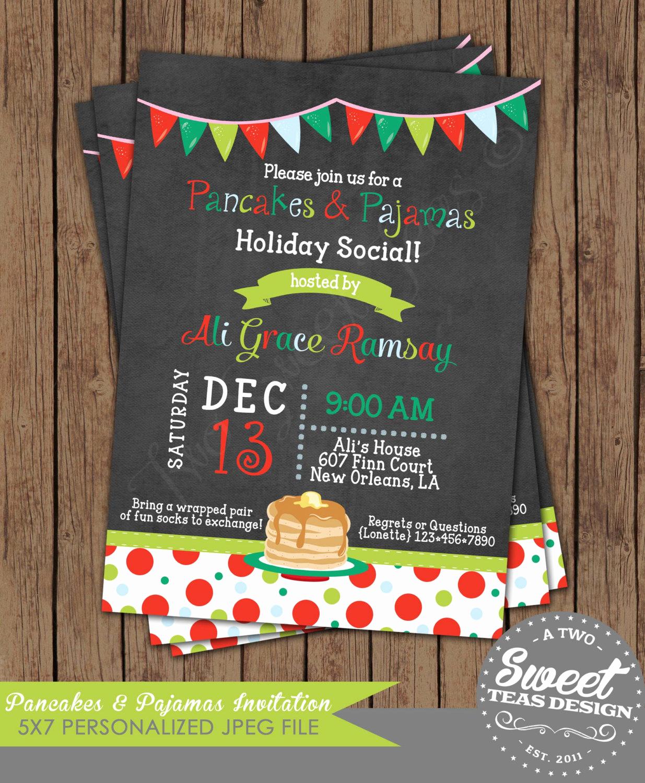 Pancakes and Pajamas Invitation Best Of Pancakes and Pajamas Invitation Chalkboard Christmas by