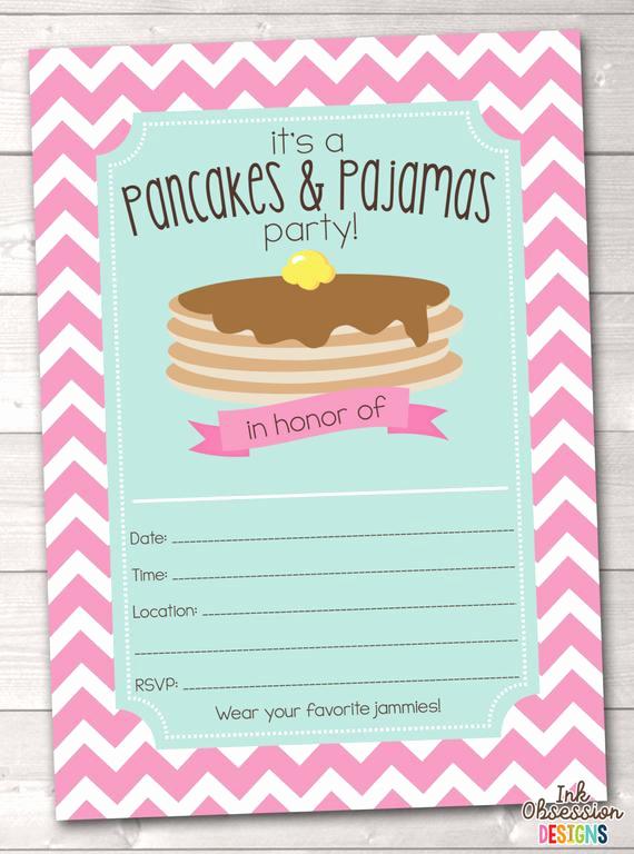 Pancakes and Pajamas Invitation Elegant Instant Download Pancakes & Pajamas Birthday Party Invitation