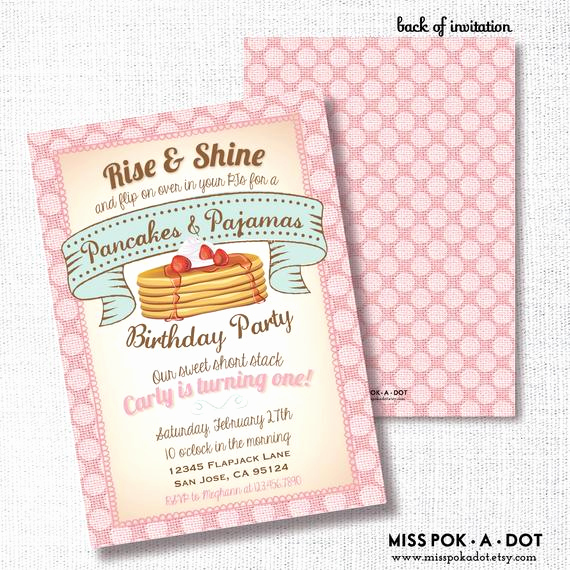 Pancakes and Pajamas Invitation Elegant Pancakes and Pajamas Birthday Party Invitation Printable