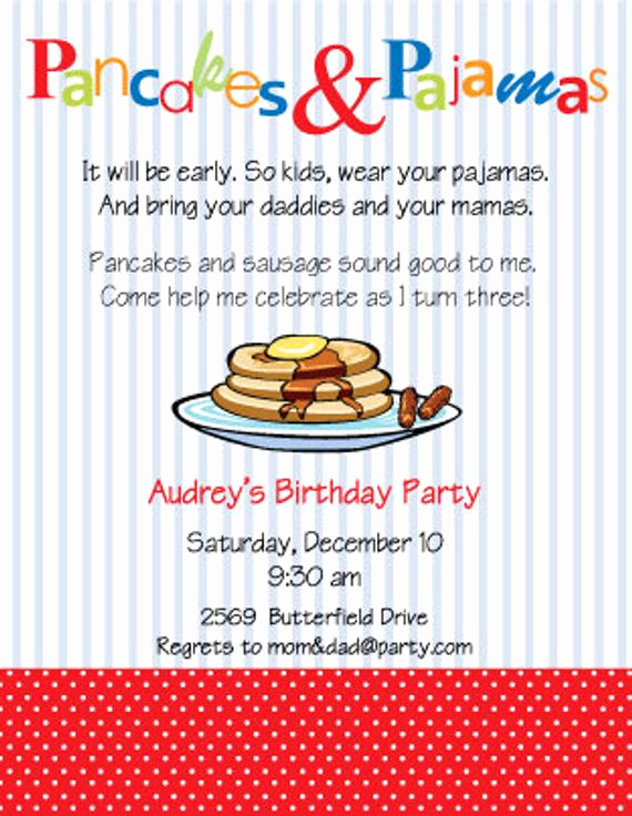 Pancakes and Pajamas Invitation Fresh Items Similar to Pancakes and Pajamas Party Invitation On Etsy
