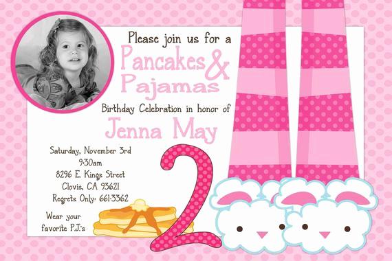 Pancakes and Pajamas Invitation Fresh Pancakes & Pajamas Birthday Party Invitation by Beenesprout