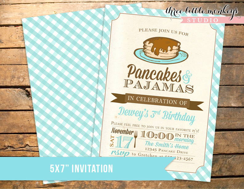 Pancakes and Pajamas Invitation Fresh Pancakes and Pjs Pajamas Birthday Invitation In Blue