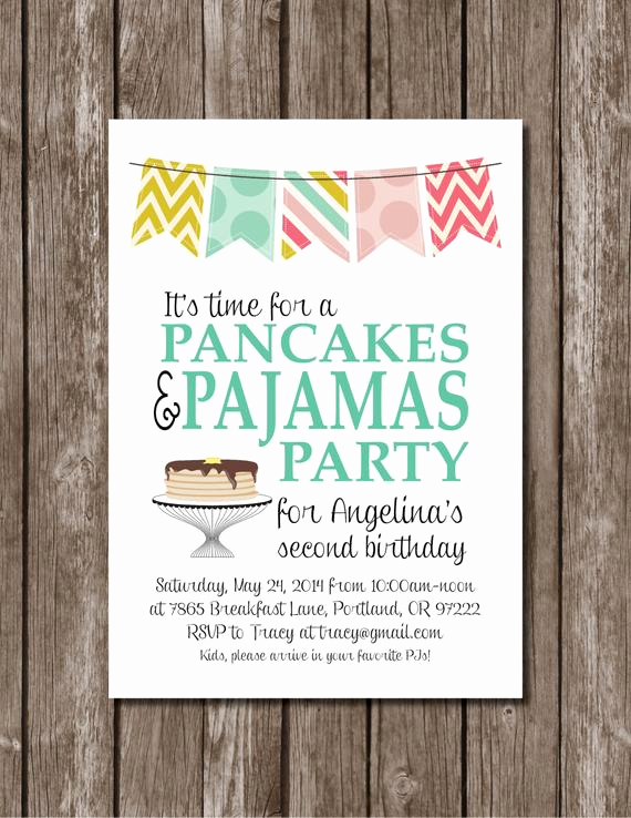 Pancakes and Pajamas Invitation Fresh Pancakes Pajamas Printable Party