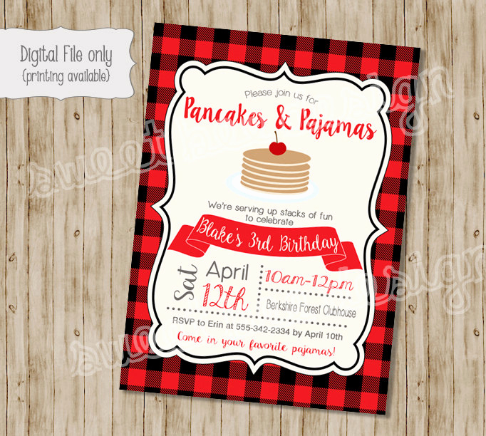 Pancakes and Pajamas Invitation Inspirational Pancake Birthday Invitation Pancakes and Pajamas Birthday