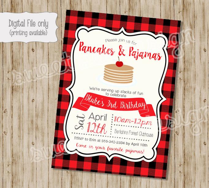 Pancakes and Pajamas Invitation Inspirational Pancake Birthday Invitation Pancakes and Pajamas Birthday