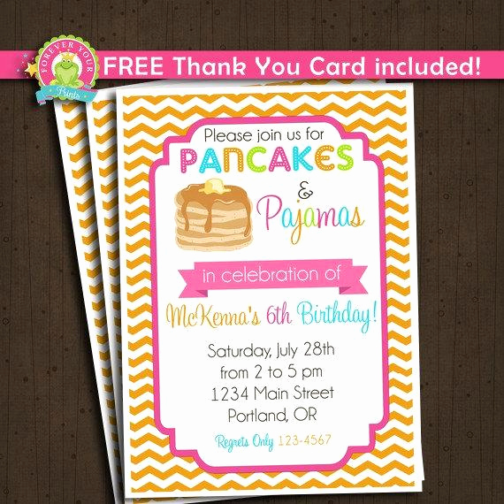 Pancakes and Pajamas Invitation Inspirational Pancakes and Pajamas Invitation Pancakes by