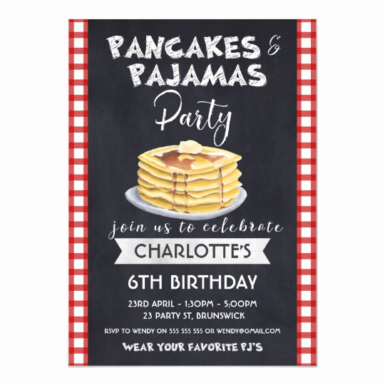 Pancakes and Pajamas Invitation Inspirational Pancakes Pajamas Birthday Party Invitation