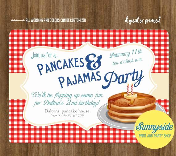 Pancakes and Pajamas Invitation Lovely Boys Pancakes and Pajamas Birthday Party Invitation Breakfast