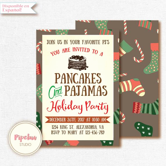 Pancakes and Pajamas Invitation Lovely Christmas Invitation Pancakes and Pajamas Invitation