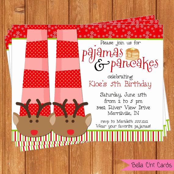 Pancakes and Pajamas Invitation Lovely Items Similar to Holiday Pancakes & Pajamas Invitation