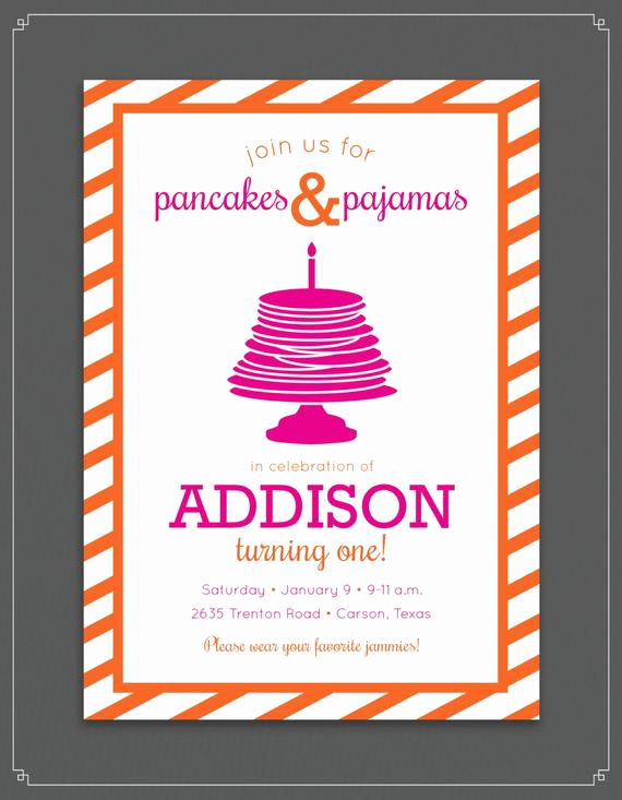 Pancakes and Pajamas Invitation Lovely Pancake and Pajamas Birthday Party Invitation by touiesdesign