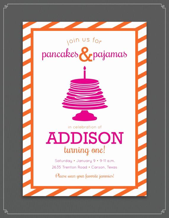 Pancakes and Pajamas Invitation Lovely Pancake and Pajamas Birthday Party Invitation by touiesdesign