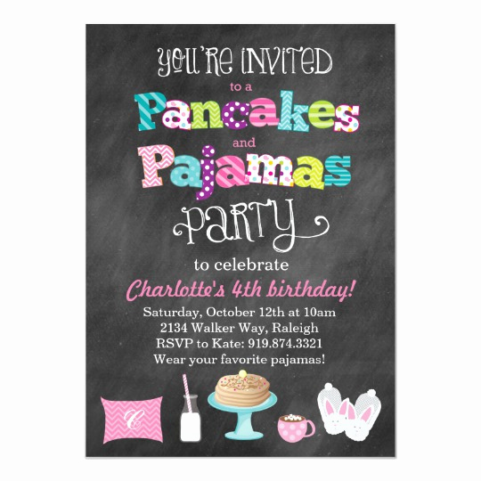 Pancakes and Pajamas Invitation Lovely Pancakes and Pajamas Chalkboard Style Invitation
