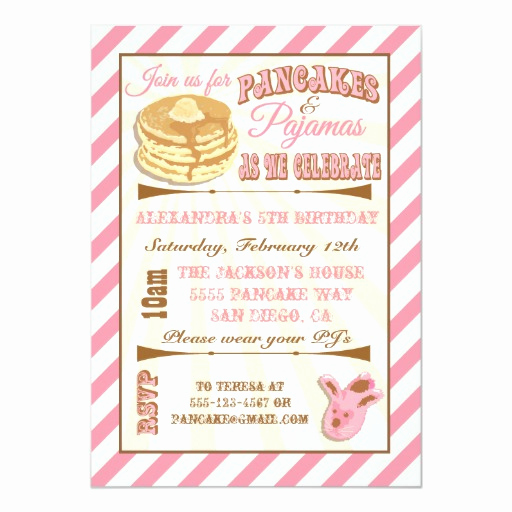Pancakes and Pajamas Invitation Unique Pancakes and Pajamas Birthday Party Invitations