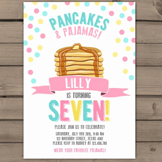 Pancakes and Pajamas Invitation Unique Pancakes and Pajamas Party Invitation Pancakes Pajamas