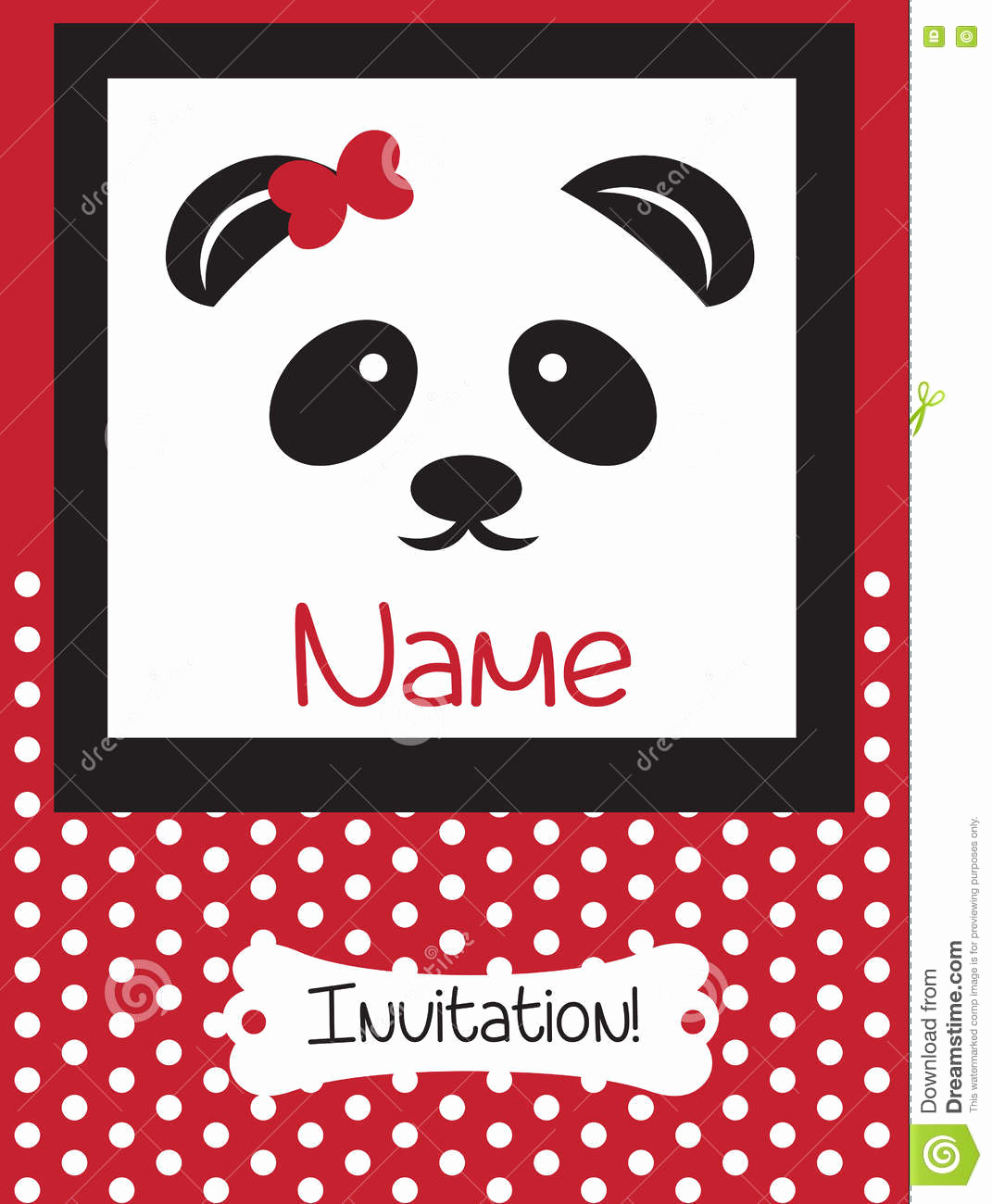 Panda Birthday Invitation Templates Free Awesome Invitation Card Retro Dotted Pattern Background Stock