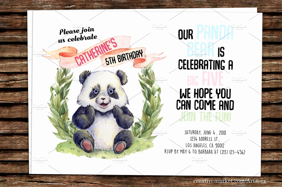 Panda Birthday Invitation Templates Free Beautiful Diy Panda Printable Invitation Invitation Templates