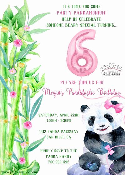 Panda Birthday Invitation Templates Free Beautiful Panda Party Printable Invitation