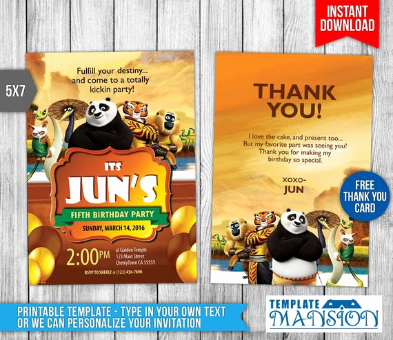 Panda Birthday Invitation Templates Free Best Of Personalized Kung Fu Panda Birthday Invitation by