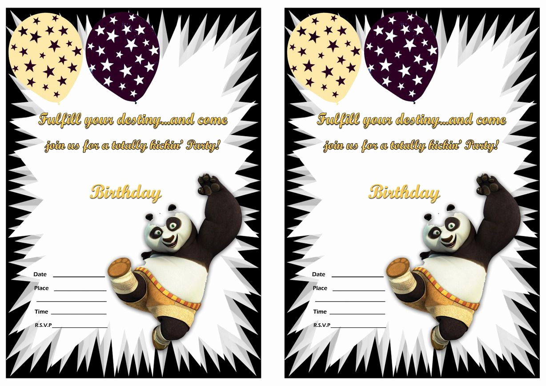 Panda Birthday Invitation Templates Free Fresh Kung Fu Panda Birthday Invitations