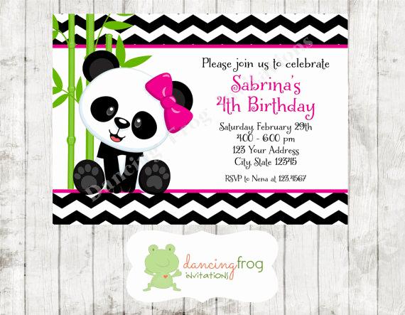 Panda Birthday Invitation Templates Free Inspirational Panda Bear Birthday Invitations Printed Panda Bear Birthday