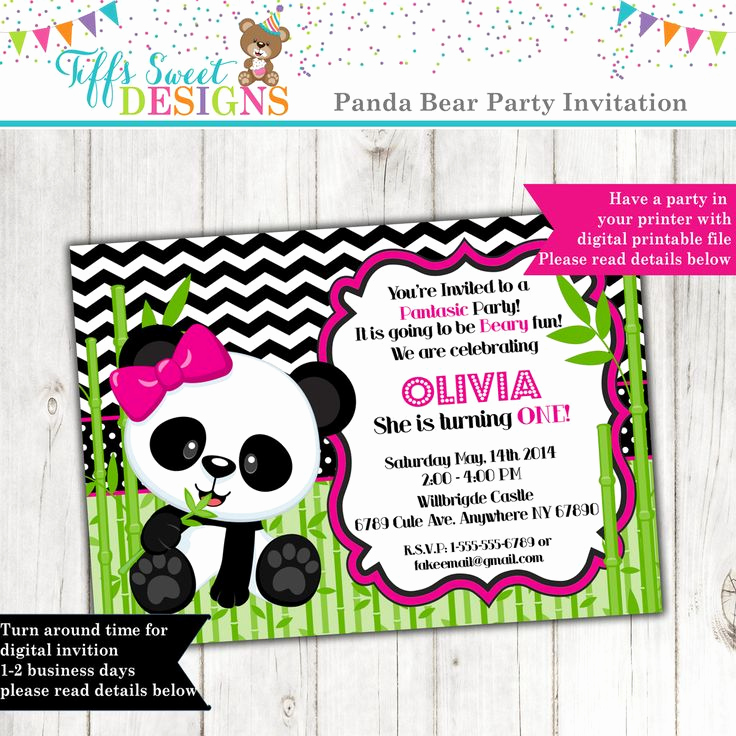 Panda Birthday Invitation Templates Free Lovely 12 Best Girl Birthday Party Invitations Images On