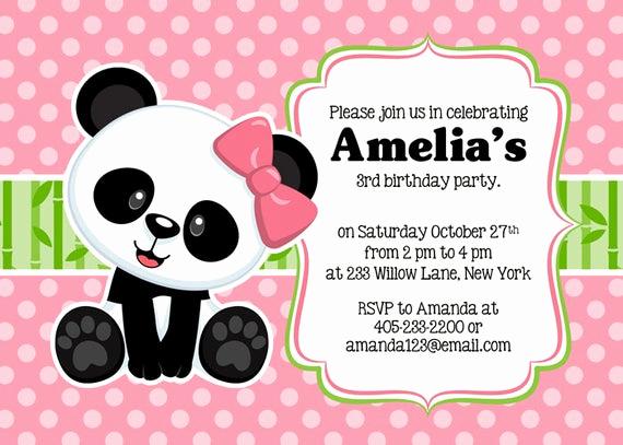 Panda Birthday Invitation Templates Free Lovely Panda Party Invitation Panda Invitation Panda Party Invite