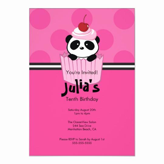 Panda Birthday Invitation Templates Free Lovely Pink Cupcake Panda Birthday Party Invitation