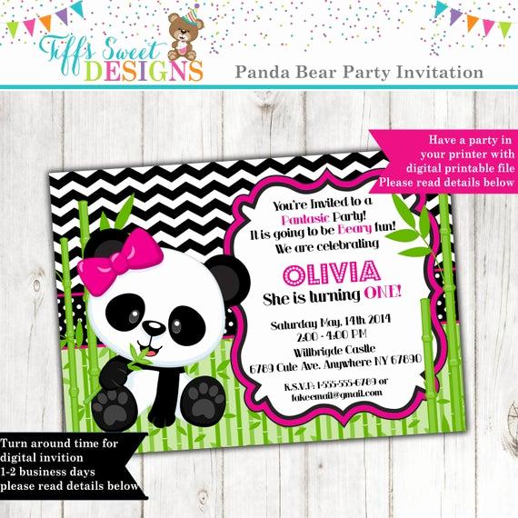Panda Birthday Invitation Templates Free Luxury Panda Bear Invitation Panda Invitation Birthday