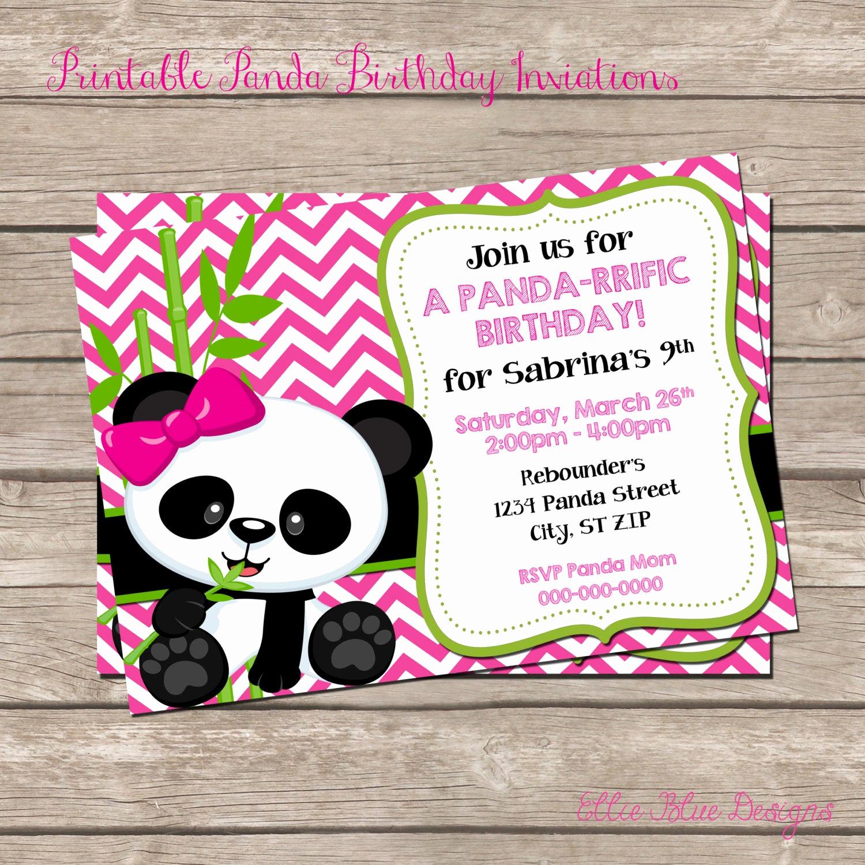 Panda Birthday Invitation Templates Free New Diy Printable Panda Birthday Invitation