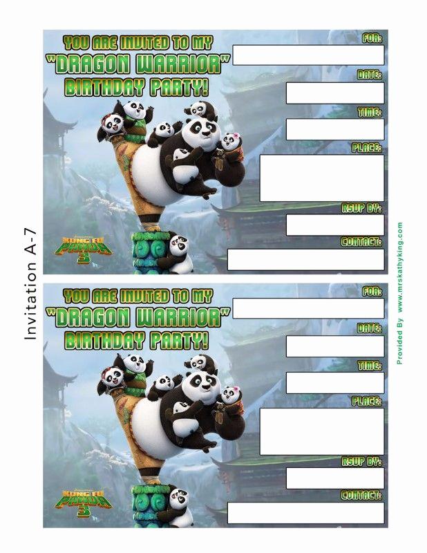 Panda Birthday Invitation Templates Free New Free Kung Fu Panda 3 Birthday Invitation Templates