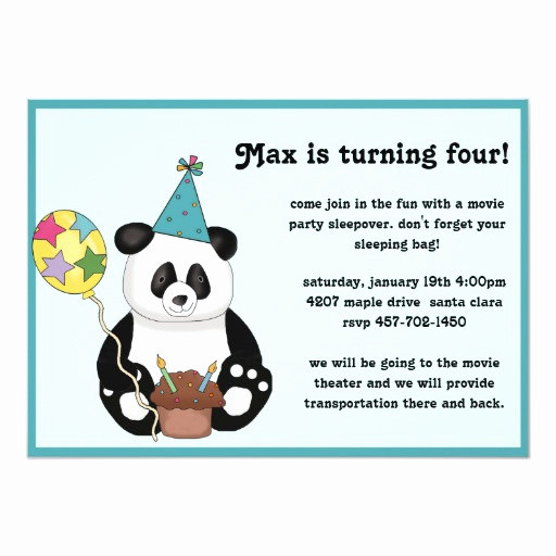 Panda Birthday Invitation Templates Free New Panda Bear Birthday Invitation
