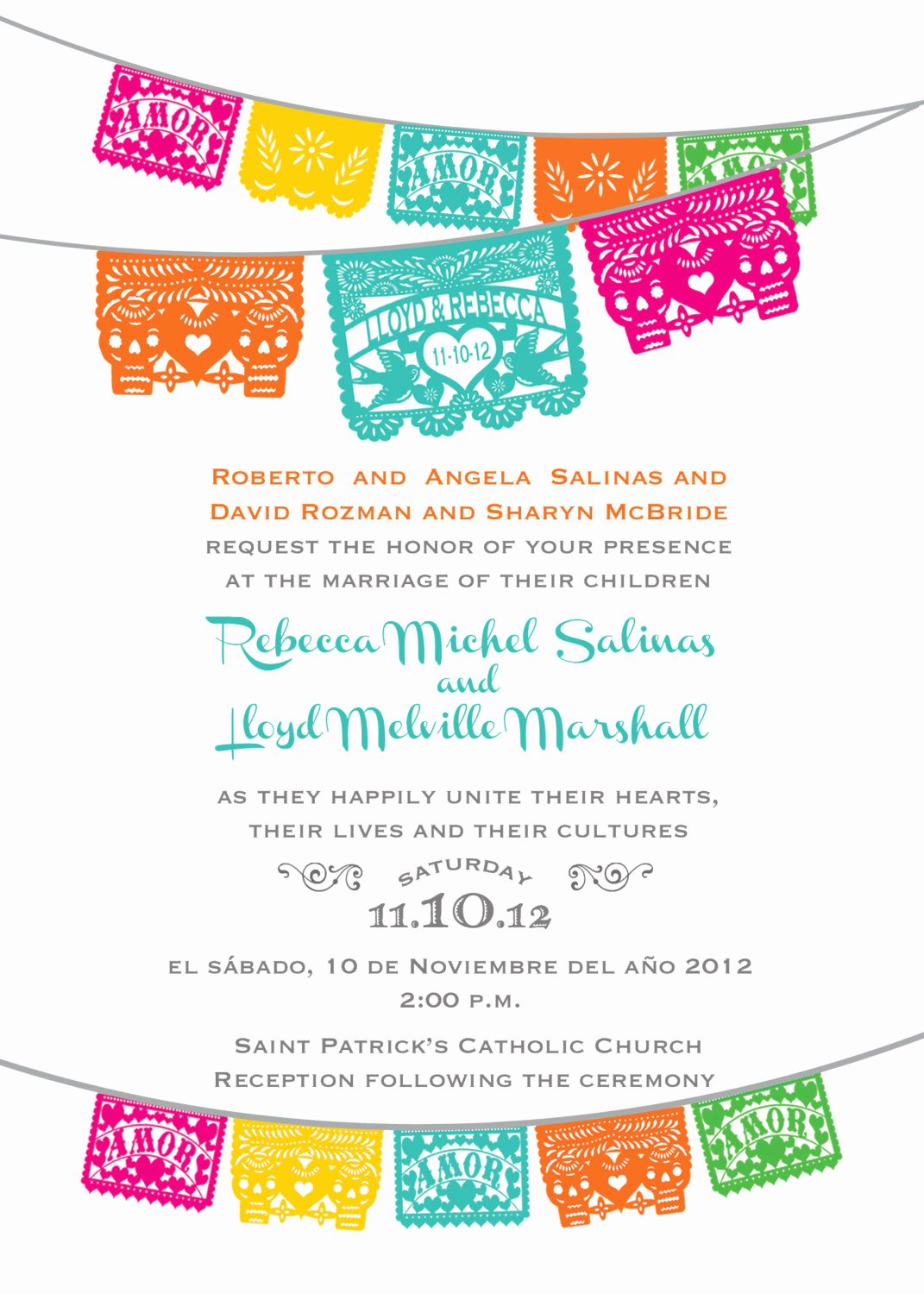 Papel Picado Invitation Template Awesome Day Of the Dead Skull Papel Picado Wedding Invitation I