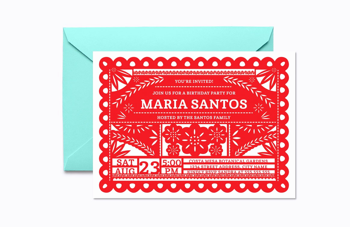 Papel Picado Invitation Template Awesome Papel Picado Invite Template Invitation Templates