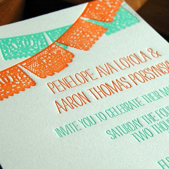 Papel Picado Invitation Template Free Best Of Papel Picado Letterpress Wedding Invitation by