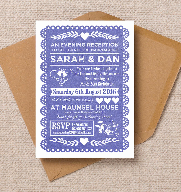 Papel Picado Invitation Template Free Inspirational Papel Picado evening Reception Invitation From £0 85 Each