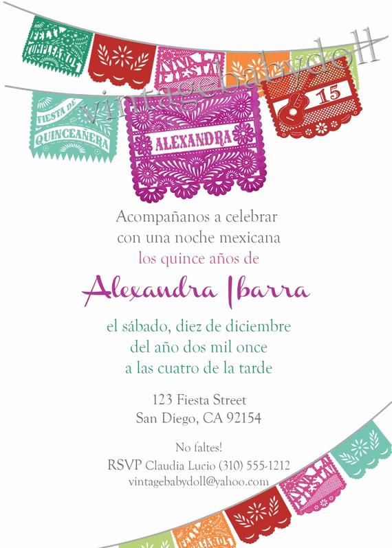 Papel Picado Invitation Template Free Luxury Quinceañera 15 Birthday Papel Picado Fiesta Invitation