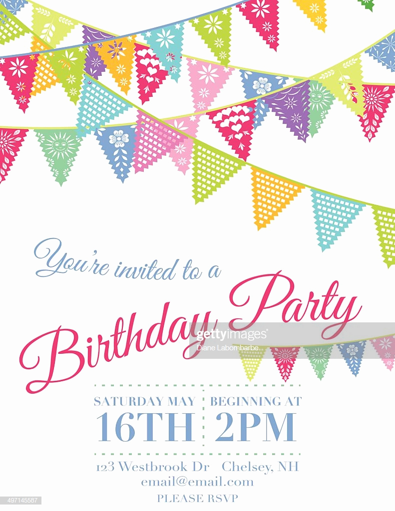Papel Picado Invitation Template Free Luxury Vector Papel Picado Flags Birthday Invitation Template