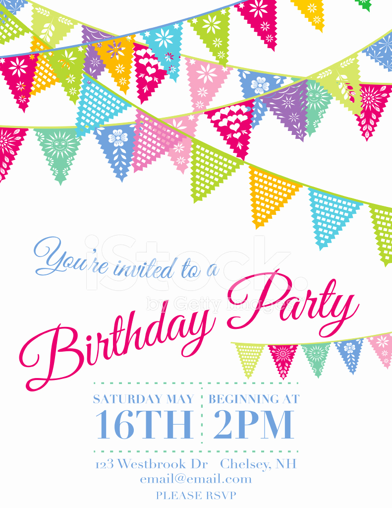 Papel Picado Invitation Template Fresh Vector Papel Picado Birthday Invitation Template Stock