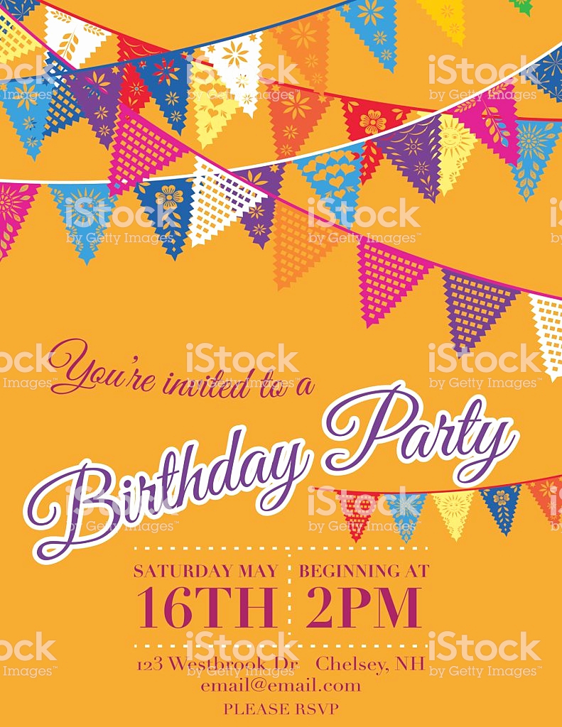 Papel Picado Invitation Template Luxury Papel Picado Banners Birthday Party Invitation Template