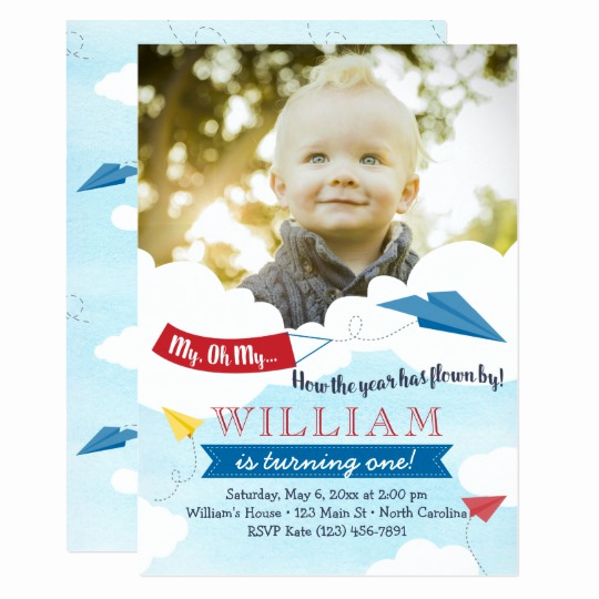 Paper Airplane Invitation Template Awesome Paper Airplane First Birthday Invitation