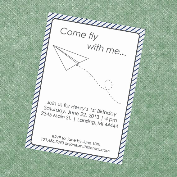 Paper Airplane Invitation Template Best Of Paper Plane Invitation Paper Airplane Invite Paper