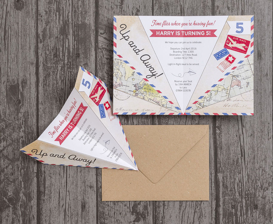 Paper Airplane Invitation Template Elegant Paper Airplane Birthday Party Invitation From £0 80 Each