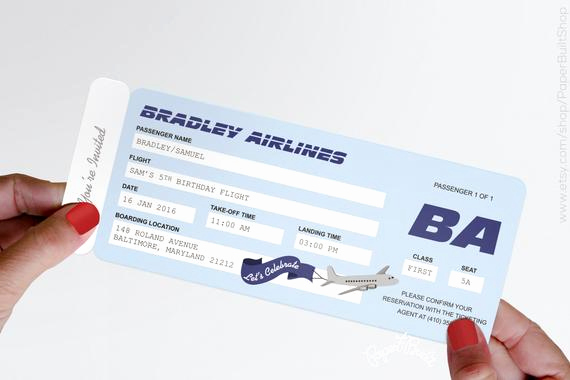 Paper Airplane Invitation Template Fresh Airplane Party Airline Ticket Invitation Airline Ticket