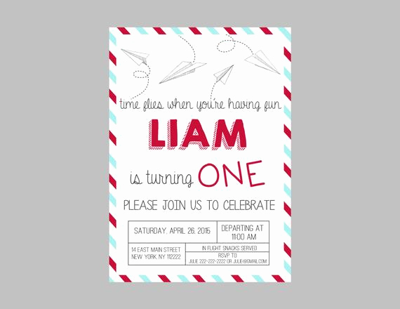 Paper Airplane Invitation Template Fresh Paper Airplane Birthday Party Invitation Paper Airplanes