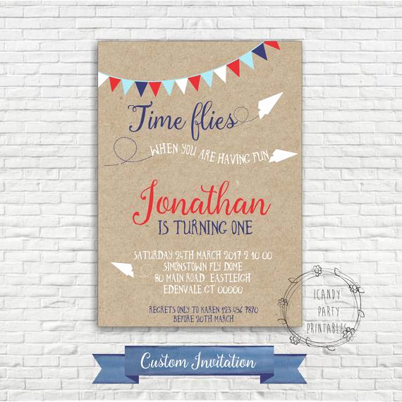 Paper Airplane Invitation Template Lovely Airplane Birthday Invitation Paper Airplane First Birthday
