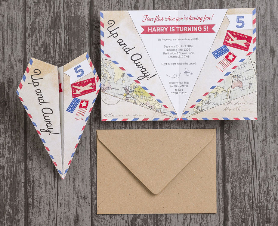Paper Airplane Invitation Template Lovely Paper Airplane Birthday Party Invitation From £0 80 Each