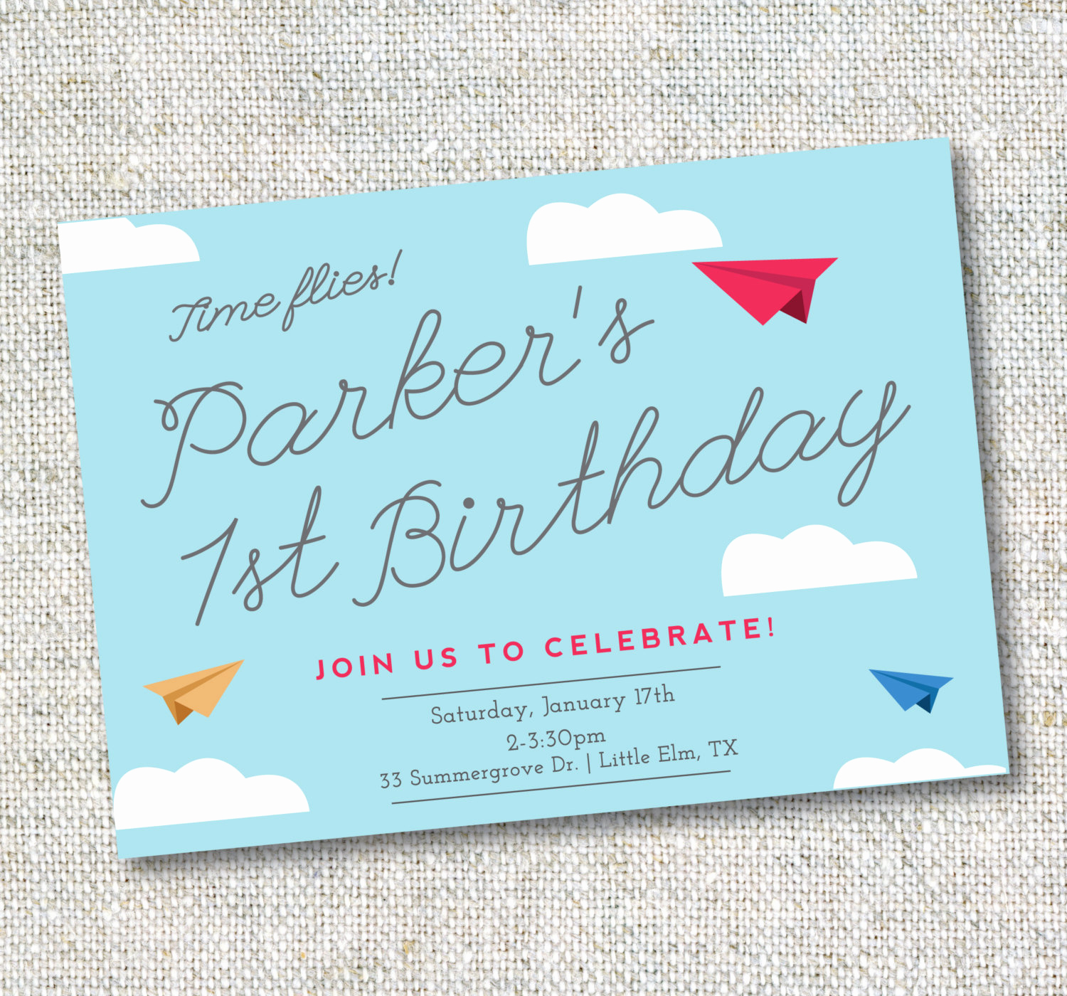 Paper Airplane Invitation Template Unique Paper Airplane Invitation Birthday Airplane theme Digital